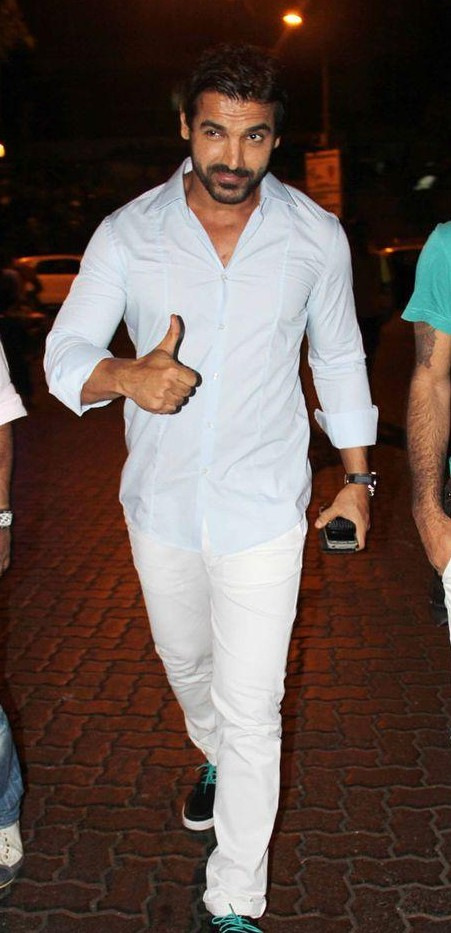 Want the light blue shirt with white pants as John Abraham is wearing - SeenIt