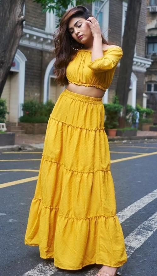 Help me find this yellow coords..maxi skirt and off shoulder crop top that Mehak Ghai is wearing. - SeenIt