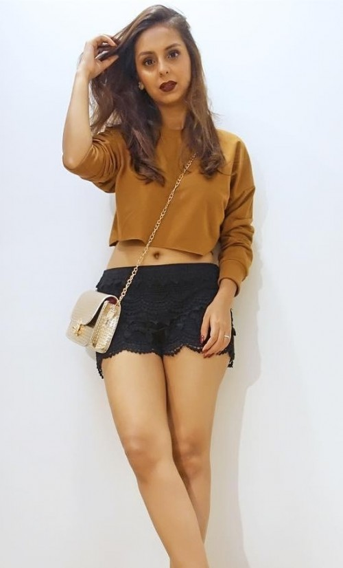 Want similar yellow croptop with black lace shorts as seen in Aanamc - SeenIt