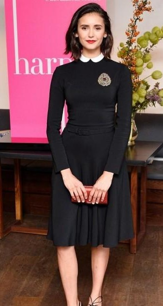 I am looking for a similar black dress with this type of collar which Nina Dobrev is wearing - SeenIt