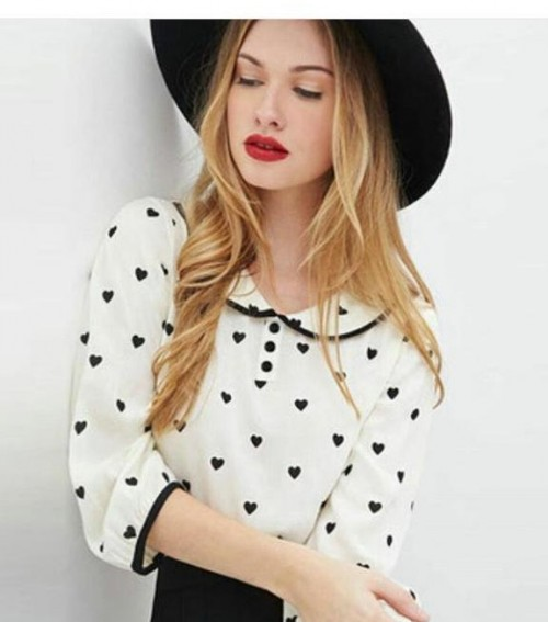 looking for similar white heart print top - SeenIt