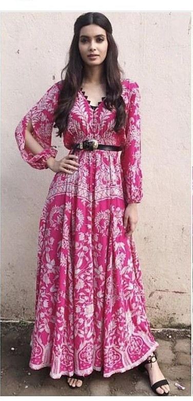 Yay or Nay? Diana Penty  spotted wearing a pink Hemant Nandita outfit  at the promotions of her upcoming movie Lucknow Central - SeenIt
