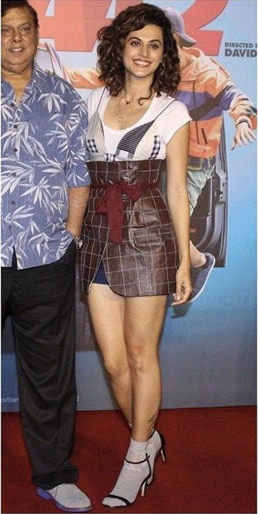 Yay or Nay? Taapsee Pannu spotted wearing a Lifaffa hipster outfit at the Trailer launch of her upcoming movie Judwaa 2 - SeenIt