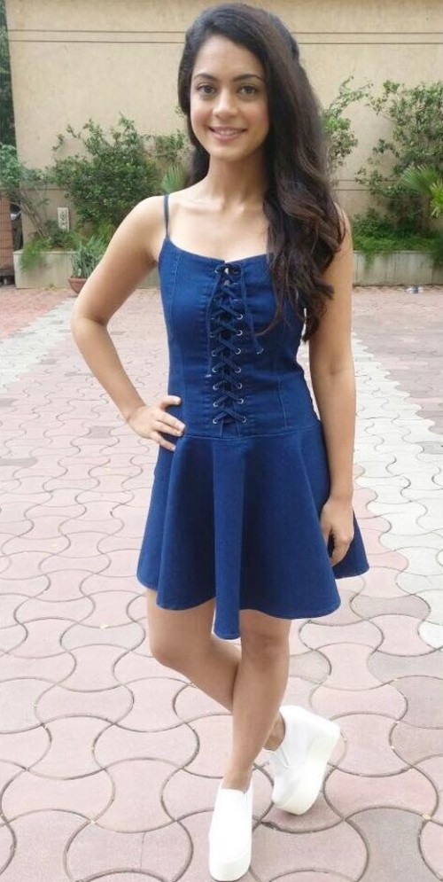 Need a similar denim skater dress and white sneakers online like Anya Singh is wearing while promoting her upcoming movie Qaidi Band - SeenIt