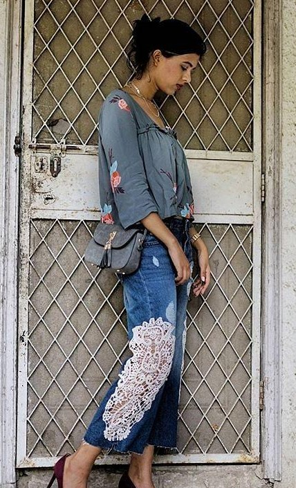 Looking for a similar grey floral top and lace detail denim culottes like Sejal Kumar is wearing. - SeenIt