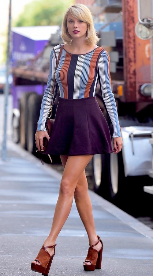 Can you help me find a similar striped top and plum skater mini skirt like Taylor Swift is wearing? - SeenIt
