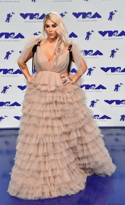 Yay or Nay? Kesha wearing a nude frill tier gown at the MTV Video Music Awards held in California last night - SeenIt