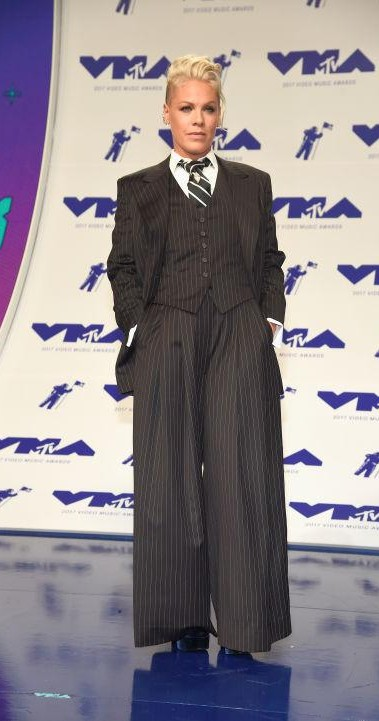 Yay or Nay? P!NK wearing a striped three piece pant suit at the MTV Video Music awards last night in California - SeenIt