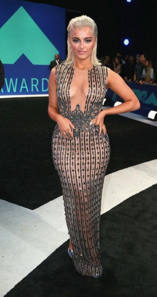 Yay or Nay? Bebe Rexha wearing a plunge neck fitted mesh gown at the MTV Video Music awards 2017 held in California - SeenIt
