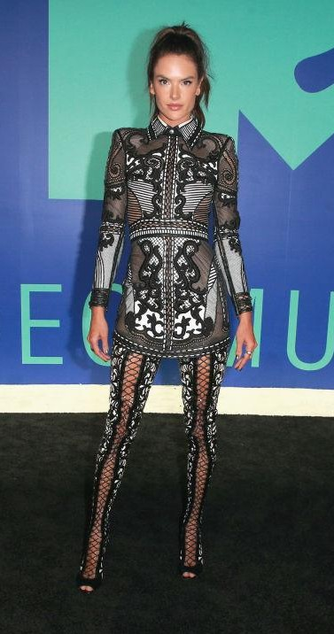 Yay or Nay? Alessandra Ambrosio spotted in a collared mini dress with lace up legging boots at the MTV Video Music awards 2017 - SeenIt