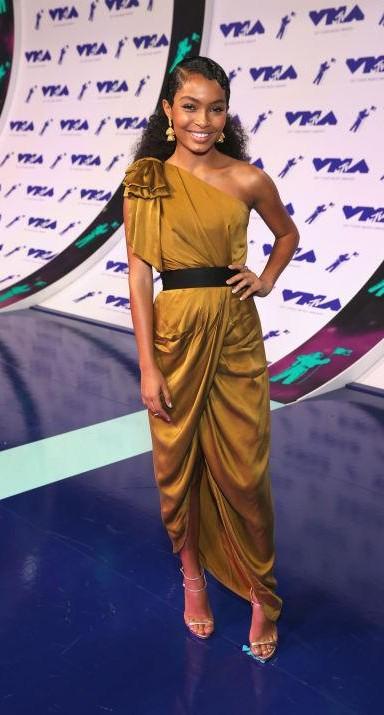 Yay or Nay? Yara Shahidi wearing a mustard drape dress at the MTV Video Music awards 2017 - SeenIt