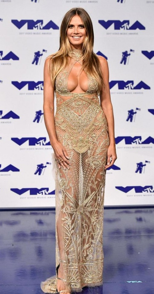 Yay or Nay? Heidi Klum wearing a golden beige sheer embellished gown at the MTV Video Music awards 2017 last night - SeenIt