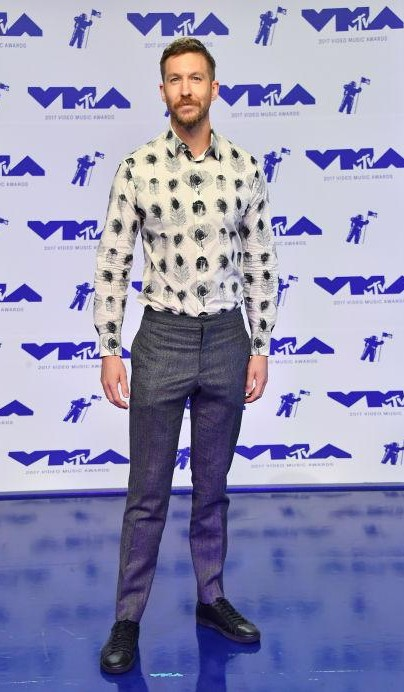 Yay or Nay? Calvin Harris spotted in a funky shirt and trousers attire at the MTV Video Music awards 2017 - SeenIt