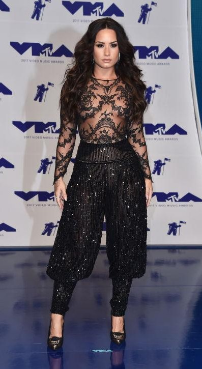 Yay or Nay? Demi Lovato wearing a black sheer Zuhair Murad all black outfit at the MTV Video Music awards 2017 - SeenIt