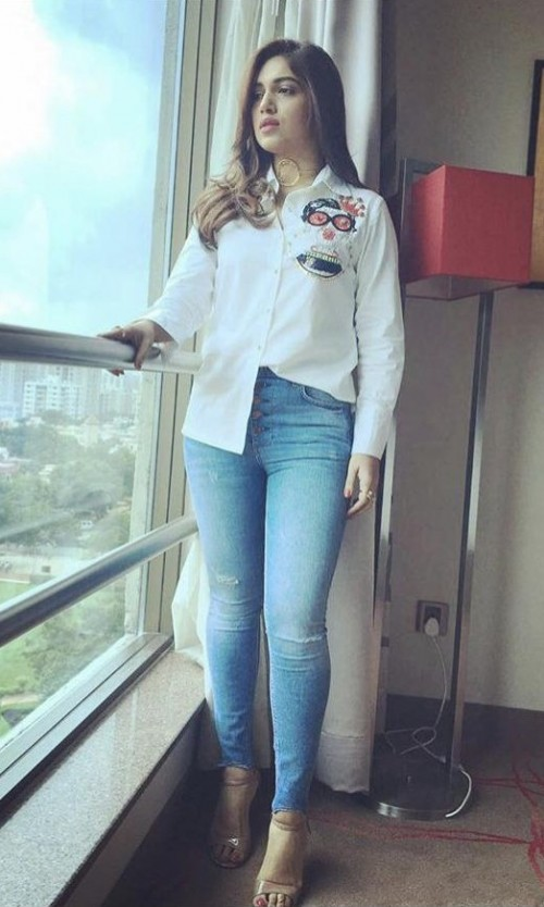 3d9a1750e7c4 Looking for a similar patched shirt and skinny denims online like Bhumi  Padnekar is wearing for