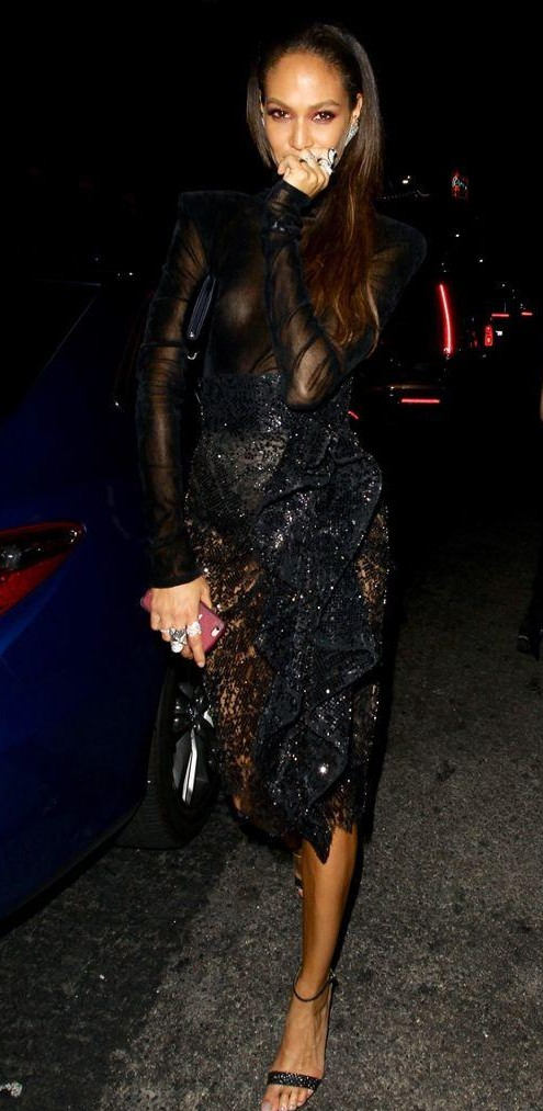Yay or Nay? Joan Smalls wearing a black shimmer mesh dress at the VMA after party - SeenIt