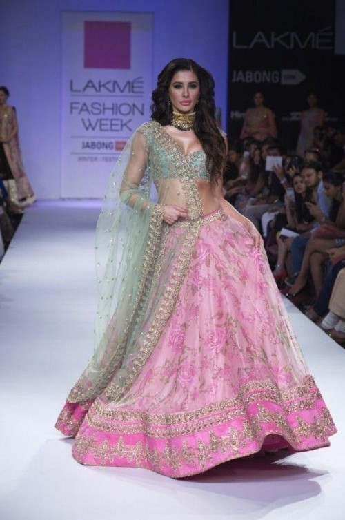 Want a similar pink floral lehenga which Nargis Fakhri is wearing - SeenIt