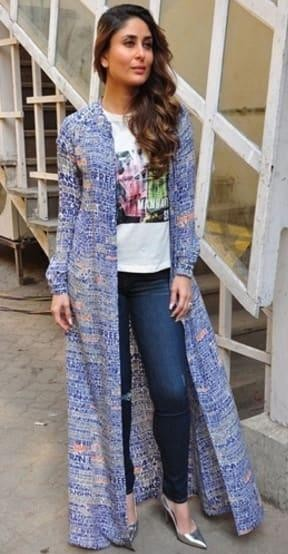 I want a similar long cover up which Kareena Kapoor is wearing for Ki & Ka promotions - SeenIt
