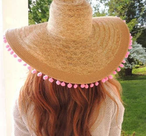 Looking for a similar beige straw pompoms hat - SeenIt