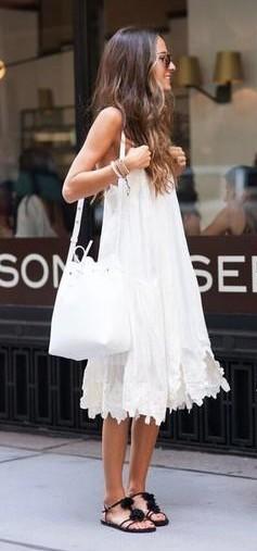 Want similar white dress with black pompoms sandals - SeenIt