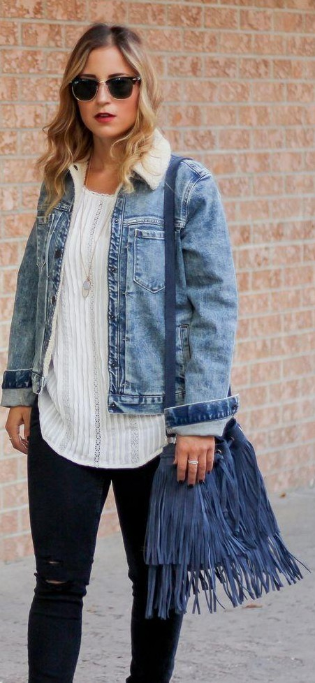 Want similar blue denim fringe bucket bag - SeenIt