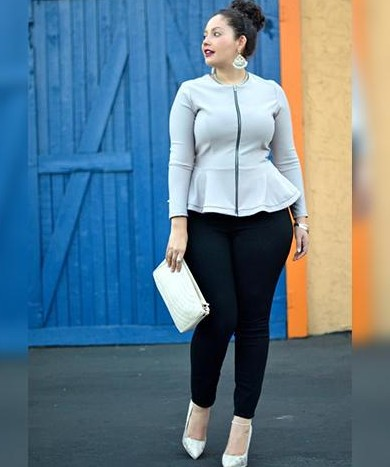 Yay or Nay ? the peplum front zip top with jeggings And what are some fashion tips for curvy girls - SeenIt