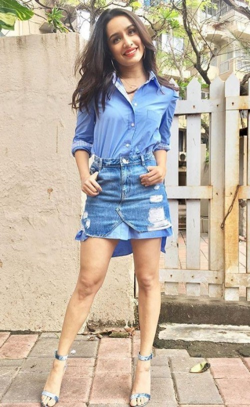 4050d546c38 Want a similar long denim shirt and ripped skirt like Shraddha Kapoor is  wearing while promoting