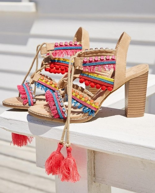 Where can I find these boho style pom poms and tassels embellished block heels? - SeenIt