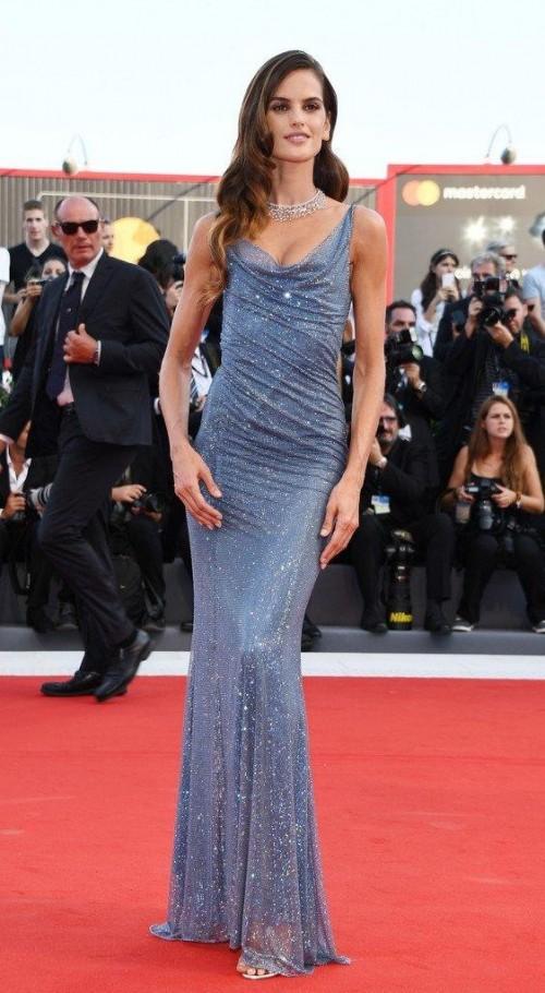 Yay or Nay? Izabel Goulart wearing an Alberta Ferretti blue Swarovski crystal gown to the 2017 Venice Film Festival - SeenIt