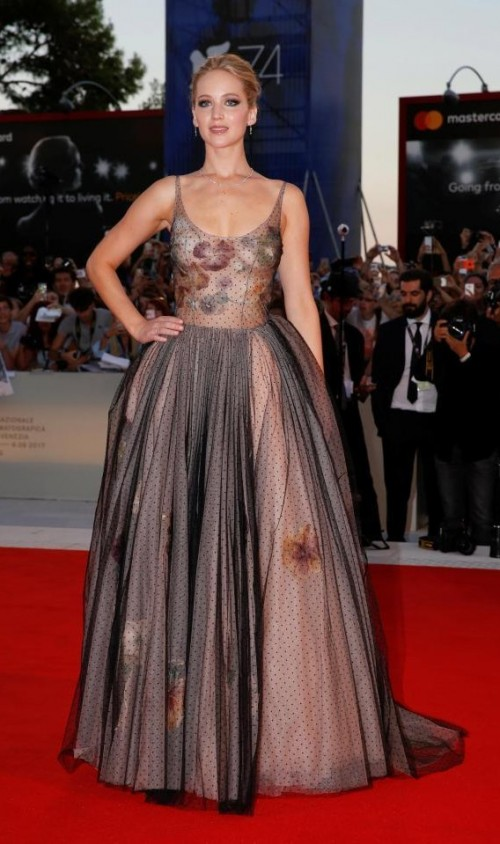 Yay or Nay? Jennifer Lawrence wearing a sweeping ballerina style dress at the Venice Film festival this year - SeenIt