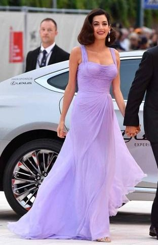 Yay or Nay? Amal Clooney wearing a lavender colored Versace gown at the Venice Film Festival this year - SeenIt