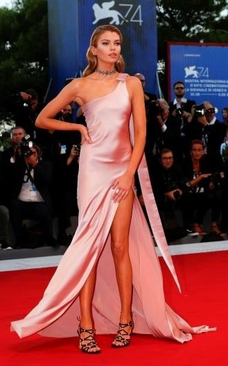 Yay or Nay? Stella Maxwell attends the 'mother!' screening during the 74th Venice Film Festival wearing a satin one shoulder slitted gown - SeenIt
