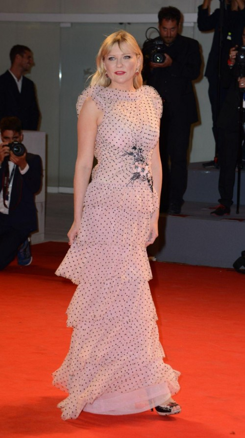 Yay or Nay? Kirsten Dunst attends the Three Billboards Outside Ebbing, Missouri Premiere at 74th Venice Film Festival wearing a lavender polka dot printed gown - SeenIt