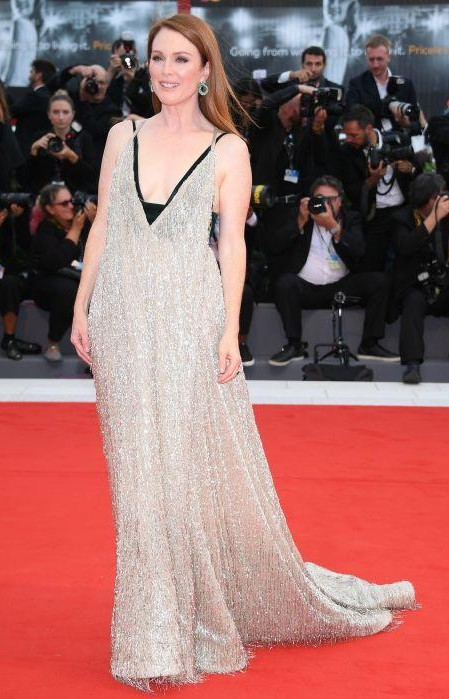Yay or Nay? Julianne Moore wearing a shimmering Valentino gown with Chopard earrings at the Suburbicon premiere during the Venice Film Festival - SeenIt