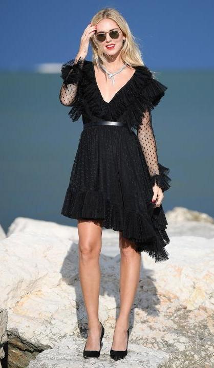 Yay or Nay? Chiara Ferragni wearing a black ruffled Philosophy di Lorenzo Serafani dress with sheer polka-dot sleeves during the Venice Film Festival - SeenIt