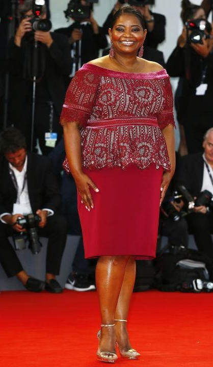 Yay or Nay? Octavia Spencer wearing a wine-coloured Tadashi Shoji dress during the Venice Film Festival this year - SeenIt