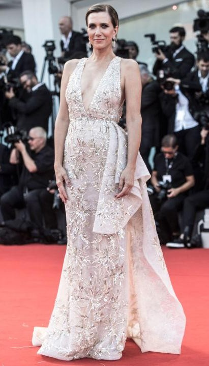Yay or Nay? Kristen Wiig wearing a Zuhair Murad gown with custom Buccellati jewellery during the Venice Film Festival this year - SeenIt