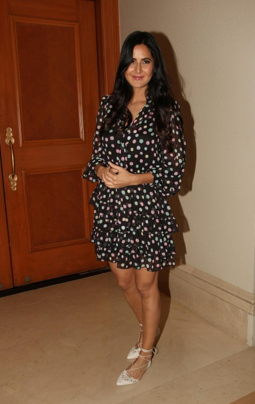 Want this black ruffled polka dot dress which Katrina Kaif is wearing for Jagga Jasoos promotions - SeenIt