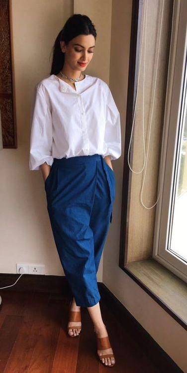 Want similar white shirt with blue culottes that Diana Penty is wearing - SeenIt