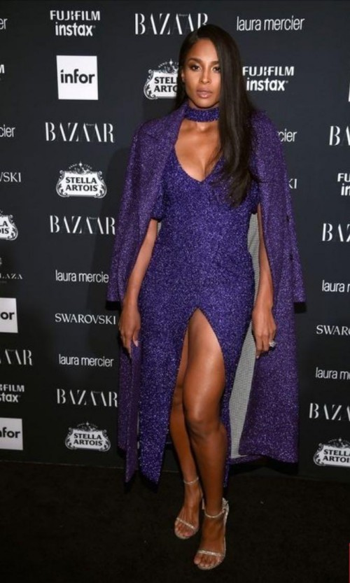 Yay or Nay? Ciara wearing a purple shimmer slitted gown with a cape at the Harpers Bazaar Icons Fete 2017 - SeenIt