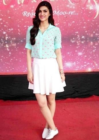Want the mint green shirt and white skirt which Kriti Sanon is wearing - SeenIt