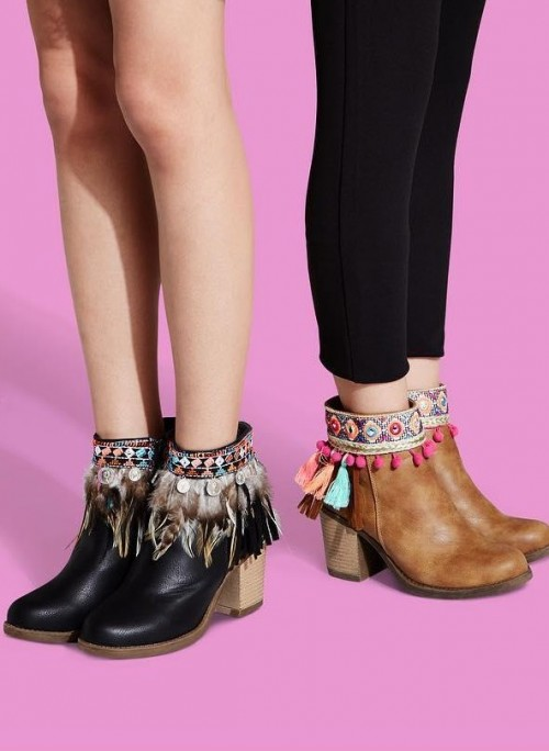 Help me find such ankle boots with tassels and pom poms. - SeenIt