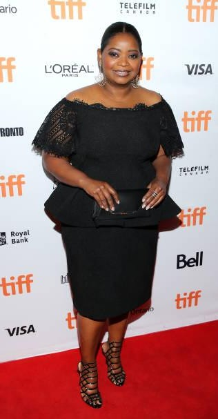 Yay or Nay? Octavia Spencer attends the premiere of 'The Shape Of Water' wearing a black peplum top and skirt during the Toronto International Film Festival - SeenIt