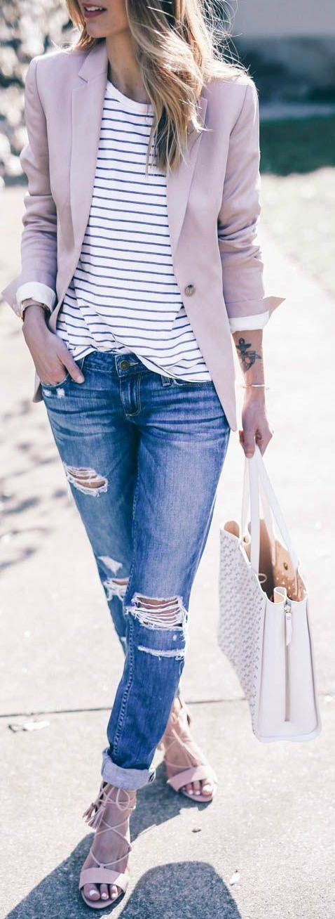 Want the whole outfit - pastel pink blazer, black and white striped tee, distressed blue jeans and beige pink sandals - SeenIt