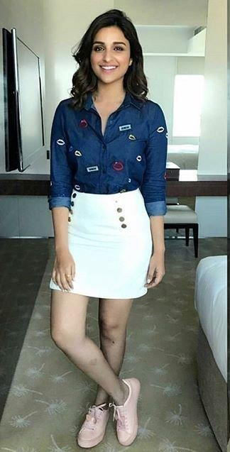 Looking for a blue denim patched shirt and white skirt like the one which Parineeti Chopra is wearing - SeenIt