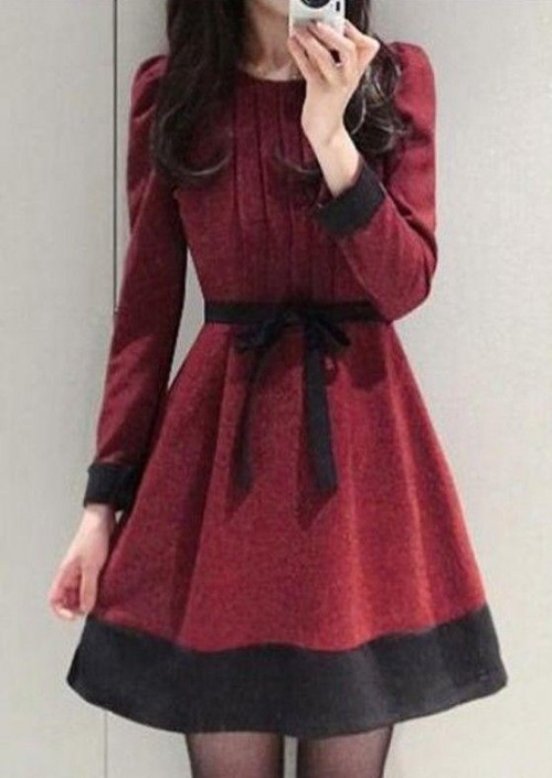 looking for similar maroon skater full sleeve dress - SeenIt
