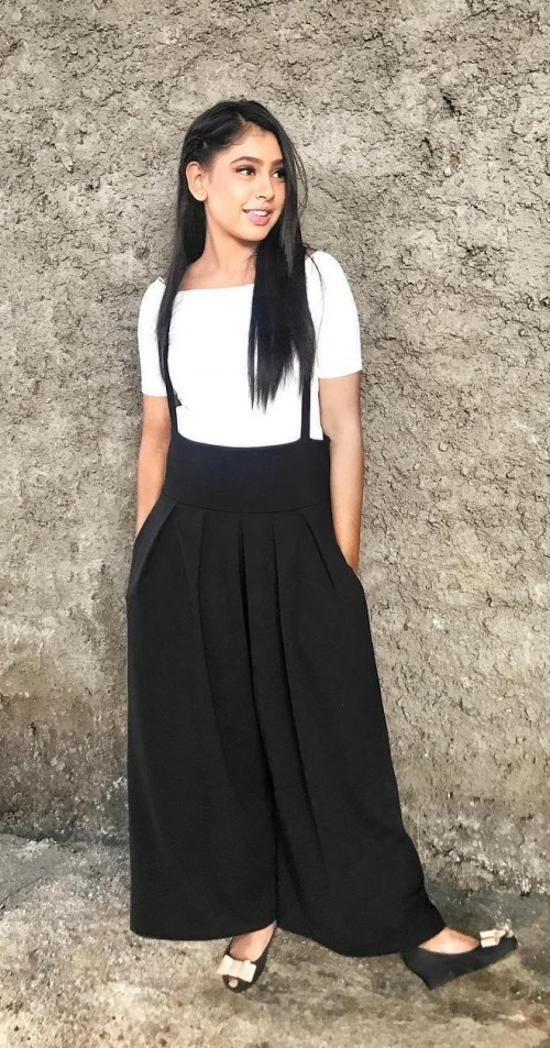 Want similar white tee with black culottes like Niti Taylor - SeenIt
