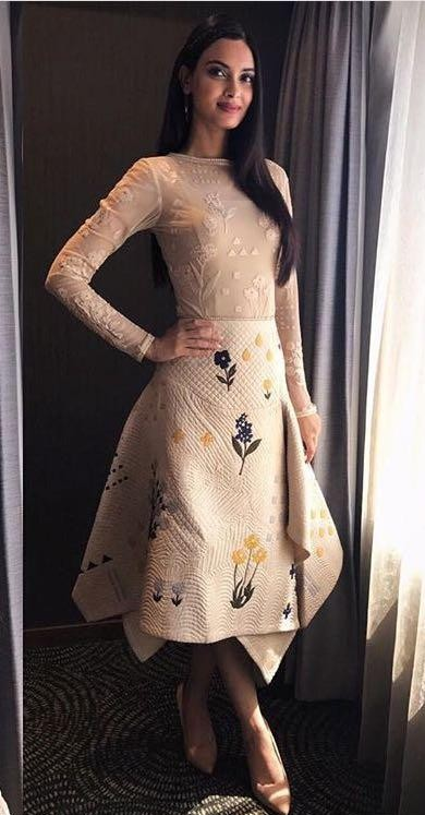 Want the nude top and printed midi skirt which Diana Penty is wearing for Lucknow Central promotions - SeenIt