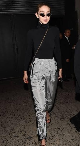 Yay or Nay? Gigi Hadid wearing a black turtle neck sweater and grey pants as seen outside the Marc Jacobs show during New York Fashion Week - SeenIt