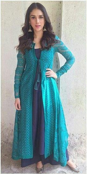 Want the outfit which Aditi Rao Hyadri is wearing , the blue front open cape with wide leg pants - SeenIt